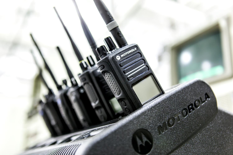 row of handheld radios
