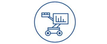 boom lift and graph icon