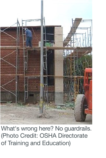 Worker using a scaffold in an unsafe manner