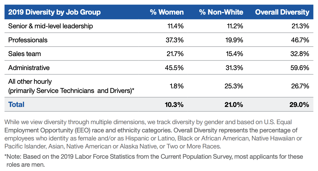 2019 Diversity by Job Group