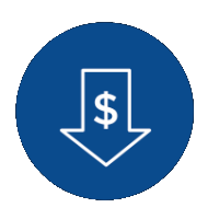 icon of a dollar sign inside of an arrow pointing down