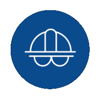 icon of a hardhat and protective eyeglasses