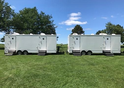 restroom trailers outside