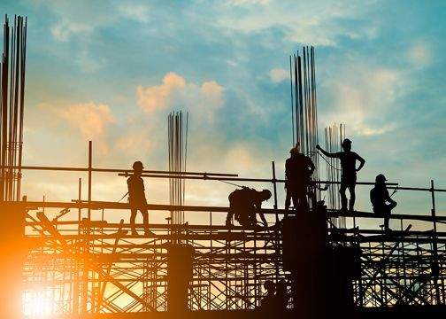 Workers on Scaffolding Silhouette