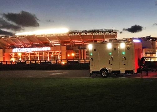 restroom trailers outside of stadium