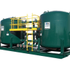 filtration system green tanks with yellow walk way
