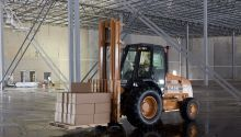 warehouse forklift with boxes