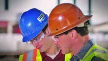 Workers in hard hats