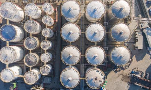 birds eye view of industrial site