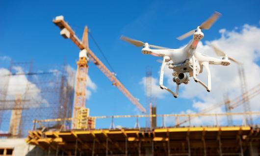 drone over industrial jobsite