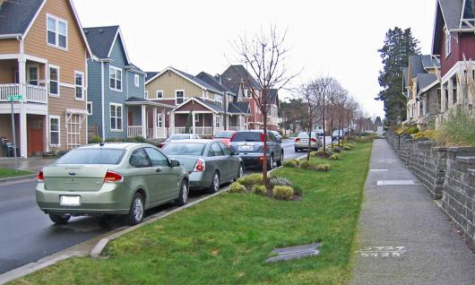 Green stormwater infrastructure in action: a rain swale and permeable pavement in West Seattle's High Point neighborhood.